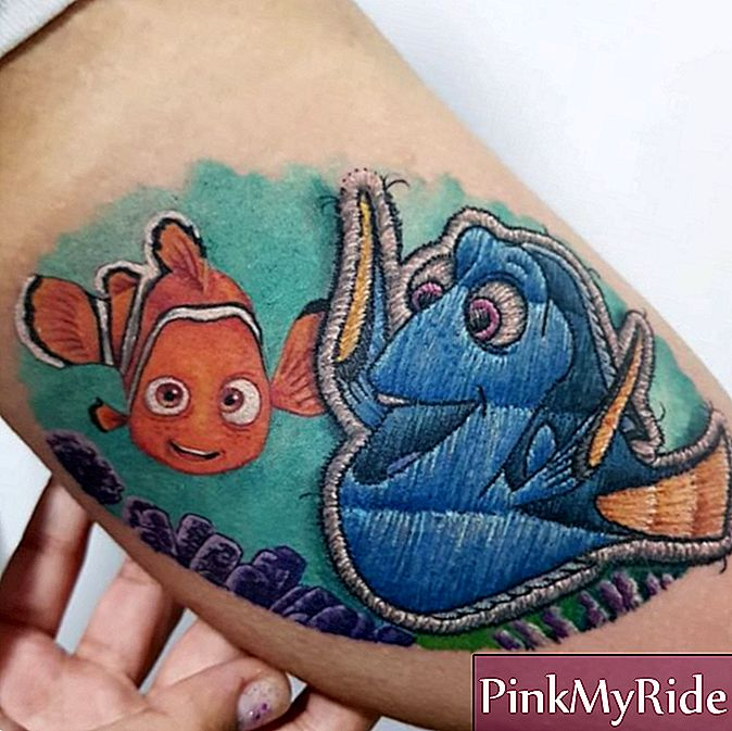 "Embroidered tattoo of Looking for Nemo, Dori, in the arm, of Brazilian tattoo artist Eduardo ""Duda"" Lozano"