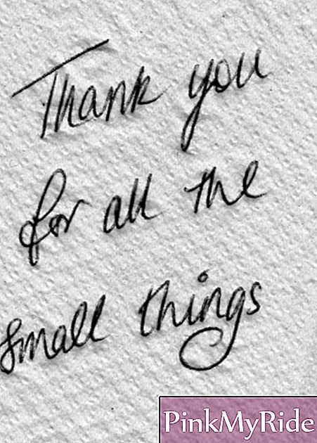 """Thank you for those little things"" message on a napkin"
